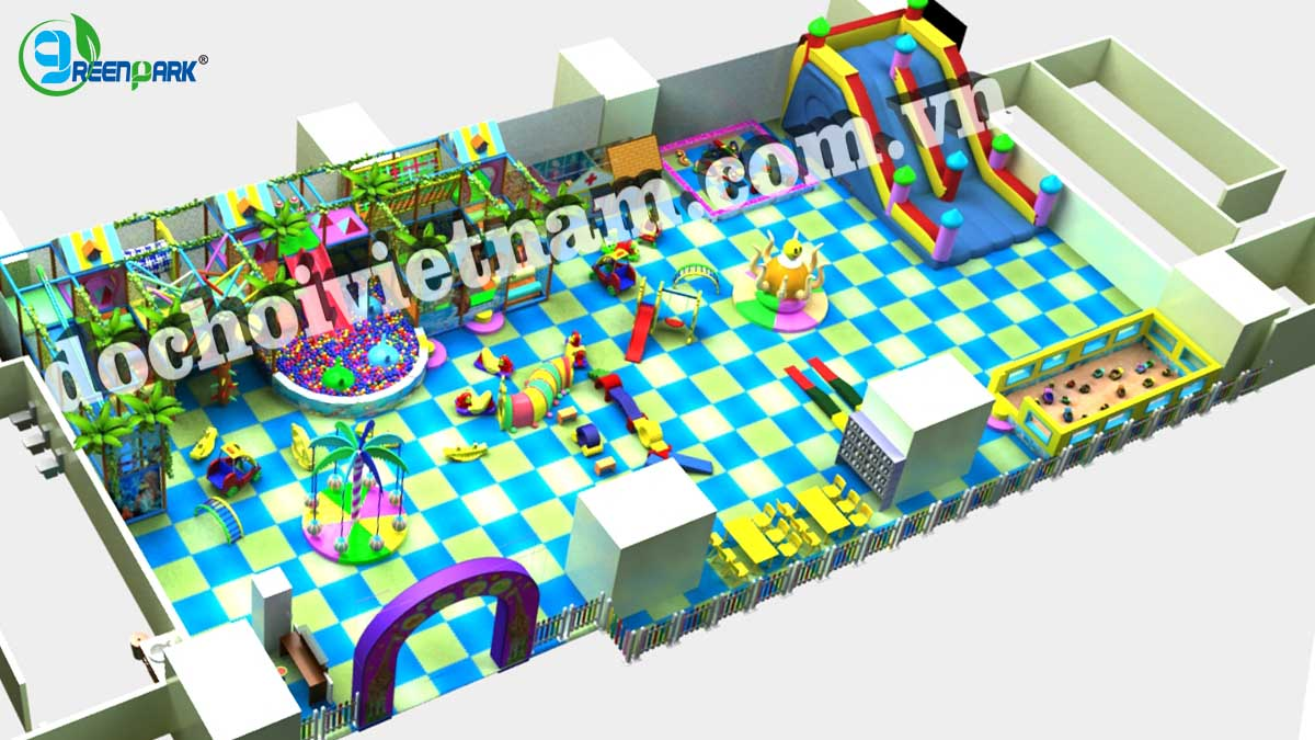 Tổng thể khu vui chơi trong nhà cho bé GP01023
