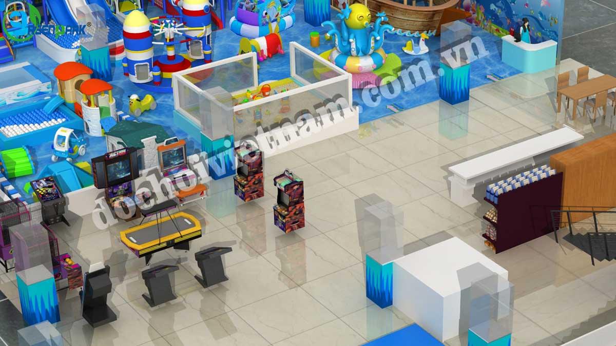 Khu vực máy trò chơi điện tử và trò chơi rời trong sân chơi trẻ em GP01010