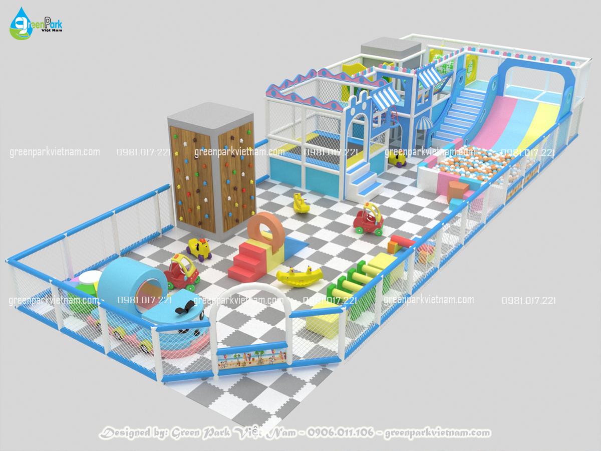 Khu vui chơi soft play màu pastel cho trường mầm non được thiết kế bởi Green Park Việt Nam